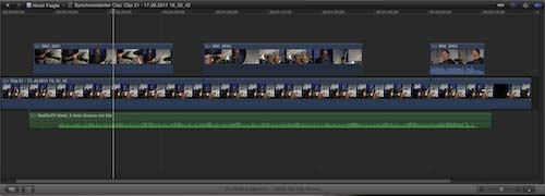 In Final Cut Pro X synchronisierte Clips