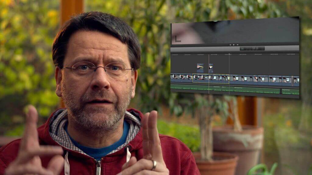 Martin Goldmann mit Screenshot der Timeline von Final Cut Pro X