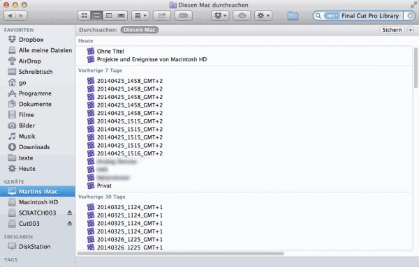 Der Finder von OS X hilft, Dateien von Final Cut Pro X zu finden.
