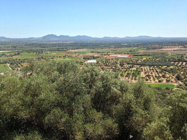 Hügel an der Südwestlichen Küste Mallorcas gesehen vom Kloster Monti Sion,