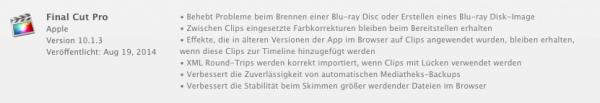 Die Update-Infos von Final Cut Pro X 10.1.3