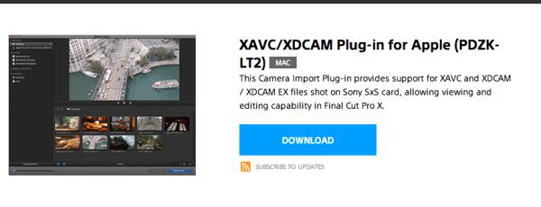 Die Download-Seite von Sony für das FCPX-Plugin