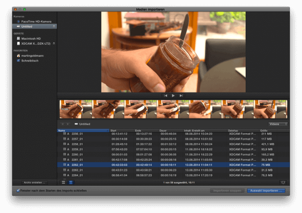 Und jetzt sehen Sie auch die XDCAM oder XAVC-Footage aus Ihrer Sony-Kamera.
