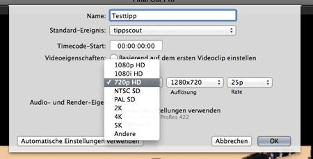 Vorgaben für Projekt in Final Cut Pro X