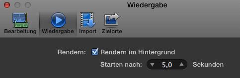 Optionen in Final Cut Pro X zum Abschalten des Rendern im Hintergrund