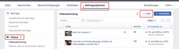 Die Konfiguration des Facebook-Livestreams für eine Sendung vom Desktop.