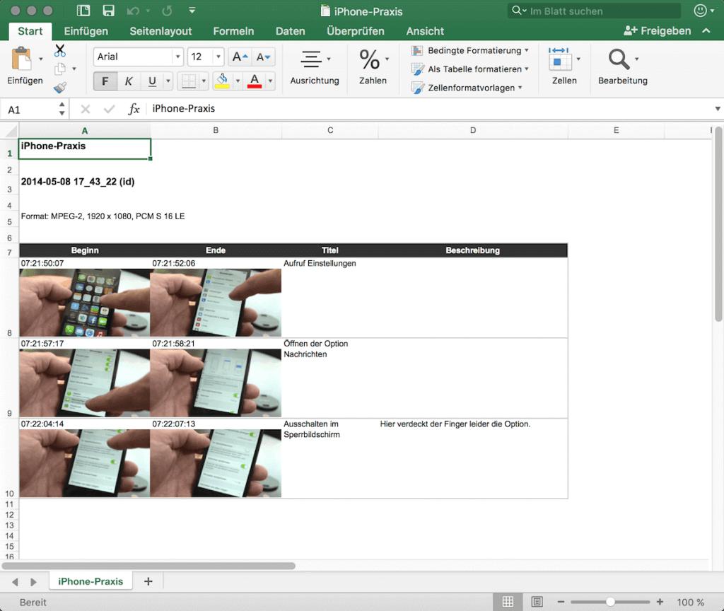 Sehr praktisch: Aus Kyno heraus lassen sich Markierungen samt Anmerkungen nach Excel ausspielen. Ideal zum Beispiel für Korrekturen.