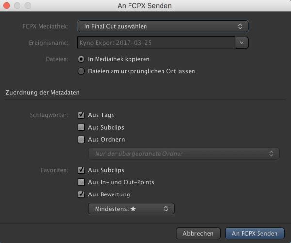 Kyno 1.2 Export nach FCPX