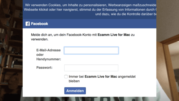 Ecamm live: Login bei Facebook