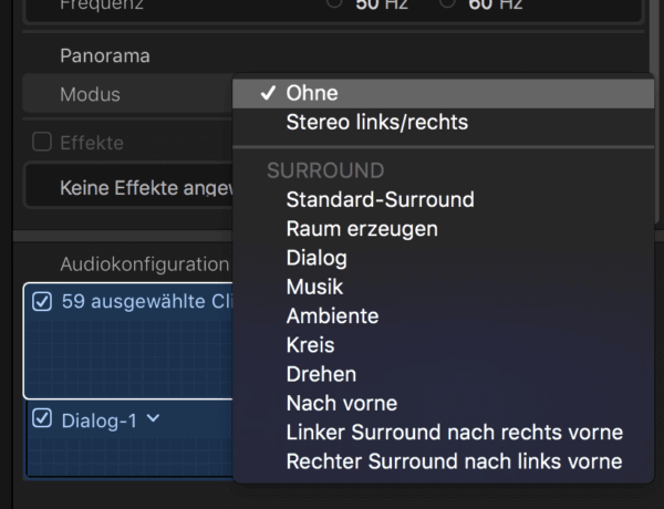 Panorama Modus in Final Cut Pro X - hilft bei Clips ohne Ton