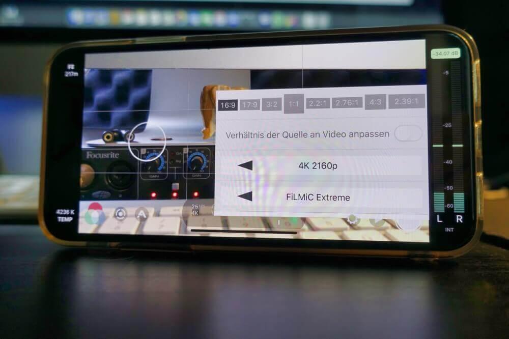 4K Einstellung in Filmic Pro