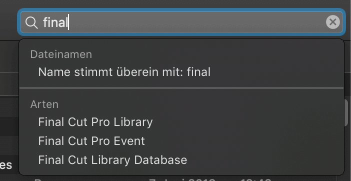 Der Finder sucht nach dem Dateityp Final Cut Pro X Library