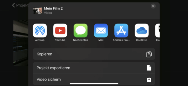 Video ausspielen in iMovie iOS