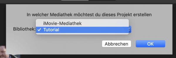 Mediathek in iMovie auswählen