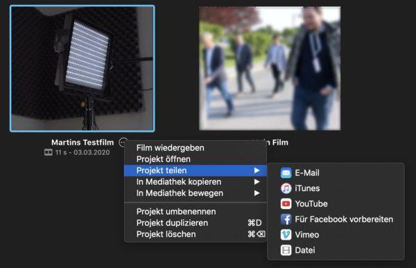 Projekt teilen in iMove für MacOS