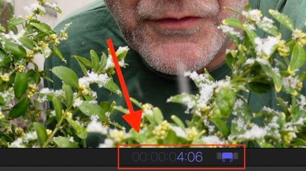 Zeit-Editor unter dem Vorschaubild in Final Cut Pro